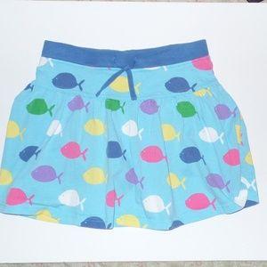 Mini Boden BLue Fish Print SKirt skort 11-12Y